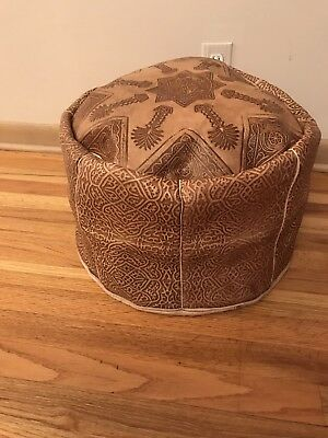 NEW Cute BROWN Moroccan Leather Poufs  ottoman  Poof Pouffette Pooff