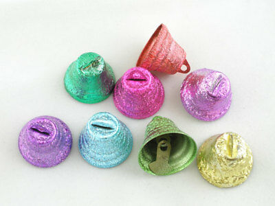 20 MIXED COLOURED METAL FROSTED CHRISTMAS DECORATION TINKLING BELLS 18x15mm (3F)