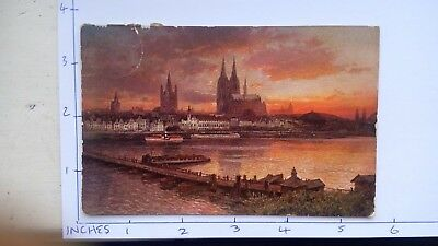 EARLY POSTCARD KOLN GERMANY 5 deutsches reich stamps
