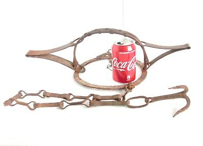 ANTIQUE wrought iron LARGE Double Spring WOLF TRAP with teeth, chain & hook L@@K