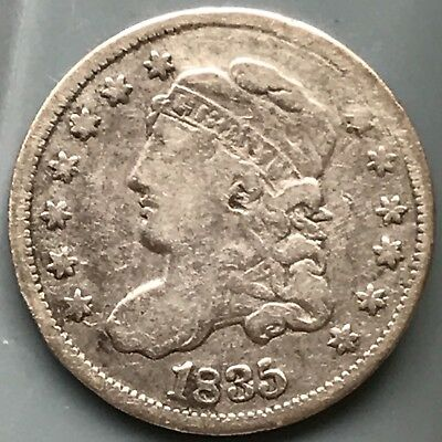 1835 Capped Bust Half Dime - Rare Type Coin, Nice Detail - Old Cleaning?