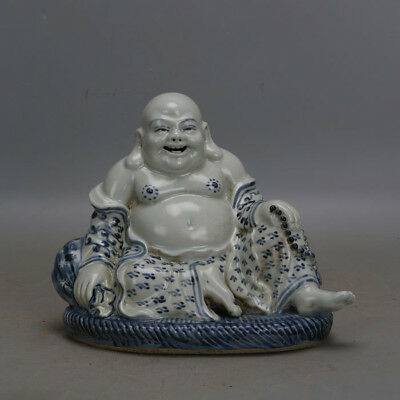 Chinese antique Blue and white Luohan Porcelain Buddha statue