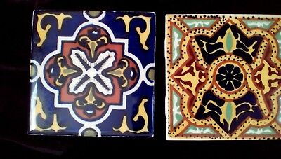 """Orion Monterrey Mexico Hand Painted Tiles (2) 4"""" Square"""