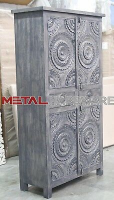 Indian Antique Style Hand Carved Almirah wardrobe grey white wash finish
