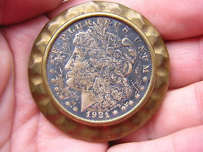 Vintage 1921 Us Morgan Silver Dollar Coin Silver + Brass Belt Buckle