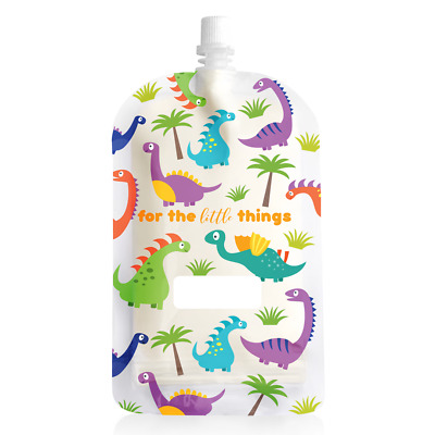 NEW Sinchies Dinosaur Baby Food Reusable Squeeze Pouches Refillable 200ml 5 Pack