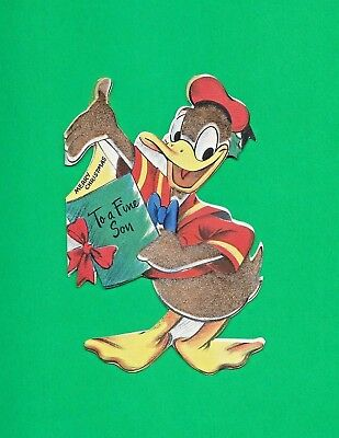 1945 Donald Duck Christmas Card ~ To A Fine Son~ Used ~ Hallmark