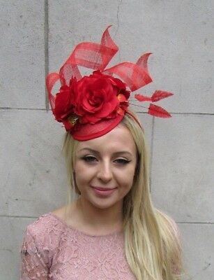 Bright Red Sinamay Rose Flower Feather Pillbox Hat Fascinator Races Hair 6274