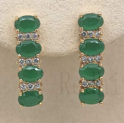 18K Gold Filled - Four Oval Emerald Topaz Jade Women Gems Wedding Hoop Earrings