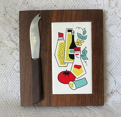 Vintage Mid Century Modern Ceramic Wood Cheese Board With Knife.