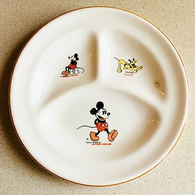 """Vintage 1930's DISNEY PATRIOT CHINA MICKEY MOUSE 8"""" Divided Child's PLATE"""