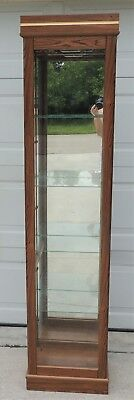 Vintage Small Oak Wood Glass Lighted Curio China Cabinet Display Case#4936
