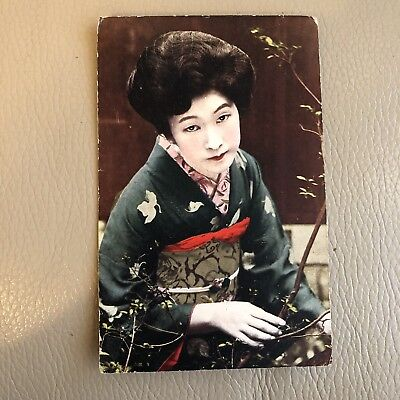 Antique 1920s Postcard 1929 Japanese Geisha Hand Tinted Vintage Posted surrey