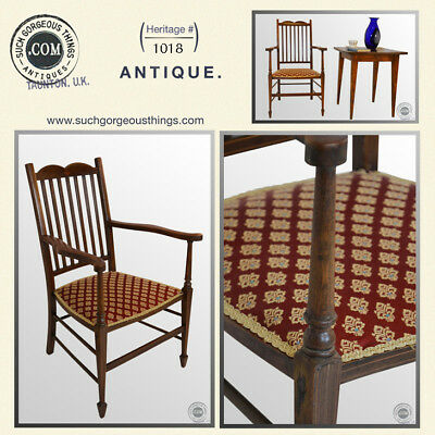 Antique Chair Open Armchair Upholstered Carver c1910 Mahogany Edwardian English
