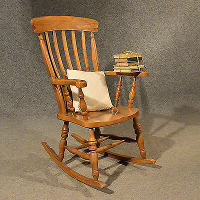 Antique Windsor Rocking Chair Large Beech Easy Country Kitchen Quality Armchair
