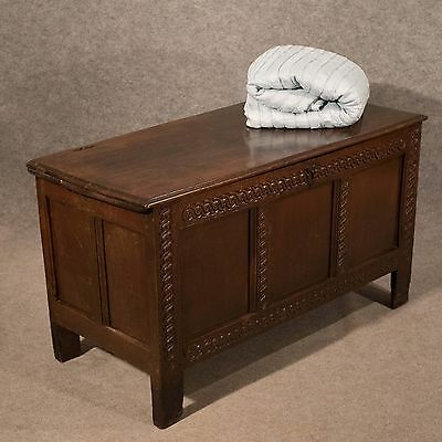 Antique Oak Mid-Size Chest Coffer Trunk Box English Early 18th Century c1700