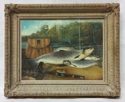 Victorian 'Study of Salmon' Oil on Board Painting in the Style of John Russell