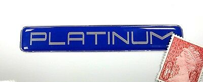 PLATINUM Sticker Super Shiny Domed Finish - 79mm Chrome Text on Blue Background