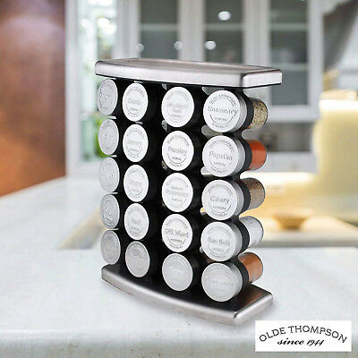 Olde Thompson Stainless Steel 20 Jar Spice Rack With Spices Kitchen Bar Cookware