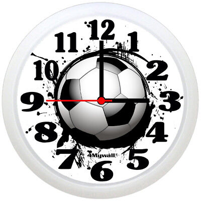 """Football wall clock with ink splash effect, 9"""" in"""