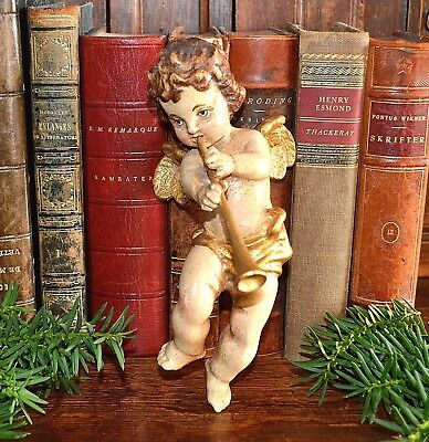Antique German Cherub Angel Playing Horn Instrument Carved Wood Gilded Paint