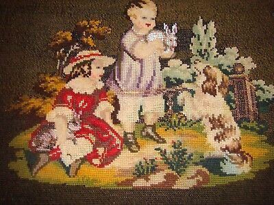 Sampler with bead work with children and rabbits