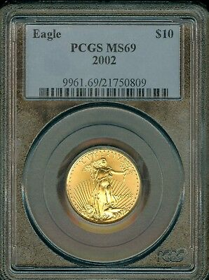 2002 $10 Gold Eagles Coins Grade MS69 by PCGS..