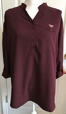 3f6212b90 VIRGINIA TECH Hokies Womens Shirt Top UG Apparel Size XL Maroon TUNIC 3/4 Sl