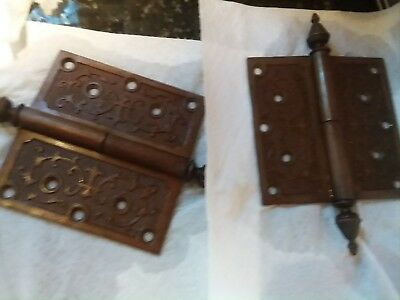 Victorian  Large Pair of  Door  Hinges-Cast Iron-Old 1800's-Brass