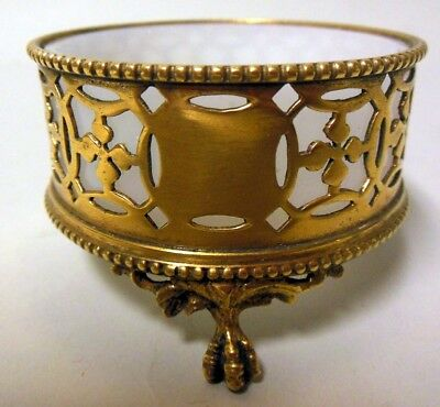 Superb Antique Gilt Gold Brass Bronze SALT CELLAR Opaline Glass French 19th c.