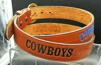COWBOYS Brown BELT Genuine LEATHER HANDMADE & PAINTED Dallas Cowboy Colors