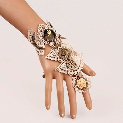 Vintage Victorian Steampunk Gear Flower Lace Bracelet With Ring Wrist Cuff