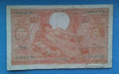 1944 Belgium 100 Frank - Orange Banknote