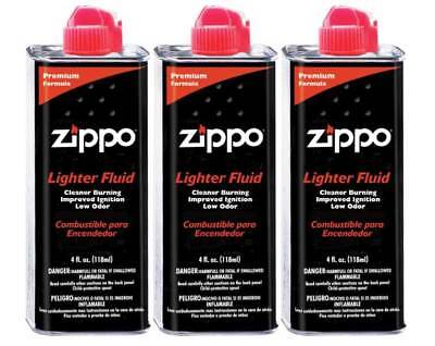 3 New Zippo Premium Lighter Fluid 4 fl.oz (118ml) Can Fuel For Zippo Lighters