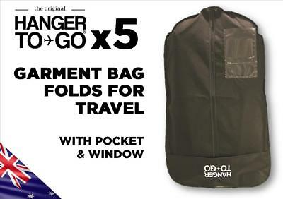 Hanger to Go Garment Clothes Bag Breathable Folds for Easy Travel with Pocket x5