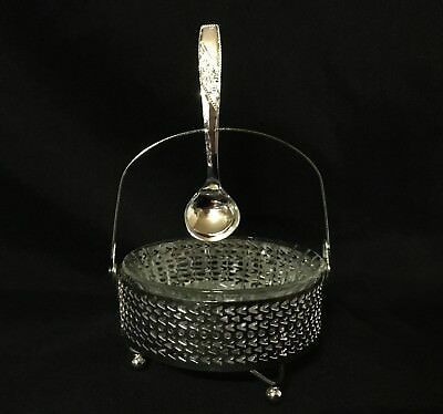 Glass And Silver Plated Jam/Jelly Set