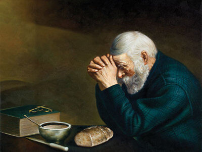 """Daily Bread Man Praying At Dinner Table Grace; Religious Décor; 1-16x12"""" Poster"""
