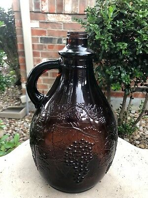 Vintage Antique Brown 1 Gallon Wine Jug with Embossed Grape Vines VGUC