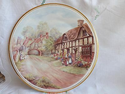Beautiful Vintage Bone China Royal Vale Thatched Cottage Large Display Plate