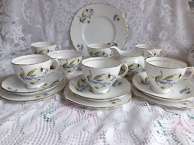 Beautiful Vintage Bone China Royal Vale Blue & Yellow Floral 21 Piece Tea Set