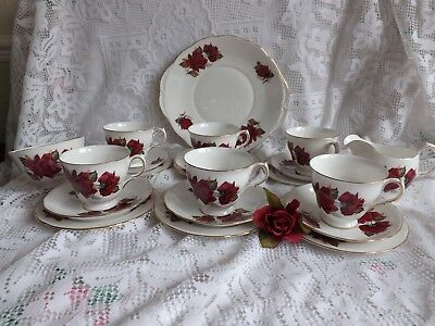 Beautiful Vintage Bone China Royal Vale Red Rose 21 Piece Tea Set. Pattern 7978