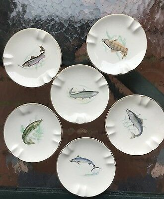 Set of 7 Unusual Gold Rimmed Fish Ashtrays EDWIN M. KNOWLES China Co.