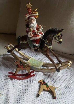 Vtg Lot of 3 Horse Christmas Decorations 2-Rocking (2 w defects),