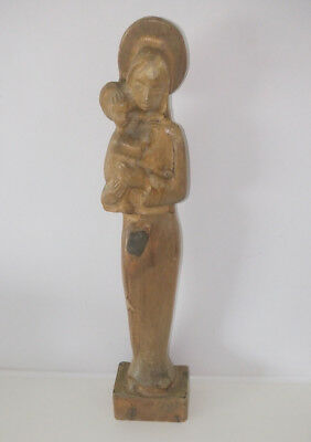 Antique/Vintage Wooden Our Lady Madonna & Baby Jesus Hand Carved Figure Statue.