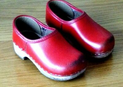 Vintage Children's Handmade Red Leather & Wood Traditional Clogs UK 9 / EU 27