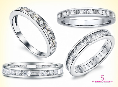 Honesty Donna Argento Sterling 925 Rotondo Zircone Cubico Set Fede Nuziale Other Fine Rings