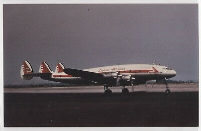 Capitol Airlines L-749 Constellation On Tarmac Aircraft Airplane Postcard