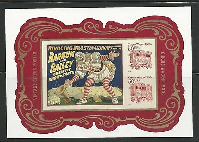#4905b Vintage Circus Souvenir Sheet Imperf Without Die Cuts