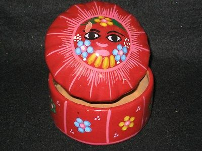 Jewelry/Trinket Box Hand Painted Sun Mexican PotteryArt UNIQUE Gift