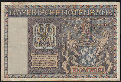 1922 100 Mark Munich German State Bavaria Old Vintage Emergency Money Banknote
